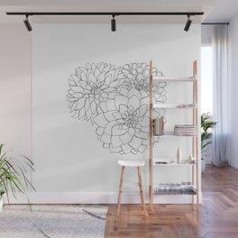 Dahlia flowers illustration - Flora Wall Mural