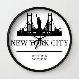 NEW YORK CITY NEW YORK BLACK SILHOUETTE SKYLINE ART Wall Clock