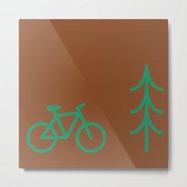 Pattern: fir tree and bike Metal Print