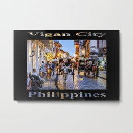Rush Hour in Vigan City (on black) Metal Print