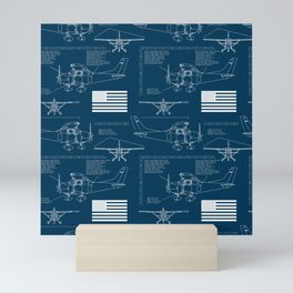 Cessna Blueprint Pattern Mini Art Print