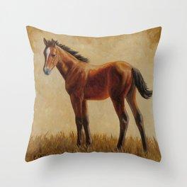Bay Quarter Horse Foal Throw Pillow