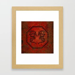 Distressed Dueling Dragons in Octagon Frame With Chinese Dragon Characters Framed Art Print