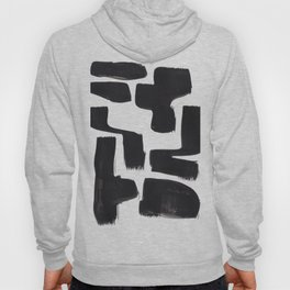 Black And White Minimalist Mid Century Abstract Ink Art Abnormal Organic Shapes Tribal Hoody