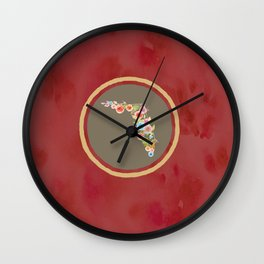 Florida Red and Tan Watercolor Flower Wall Clock