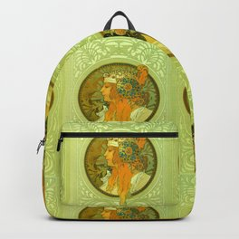 "Alphonse Mucha ""Byzantine Heads: The Blonde and The Brunette"" Backpack"