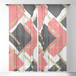 Chic Coral Pink Black and Gold Square Geometric Sheer Curtain