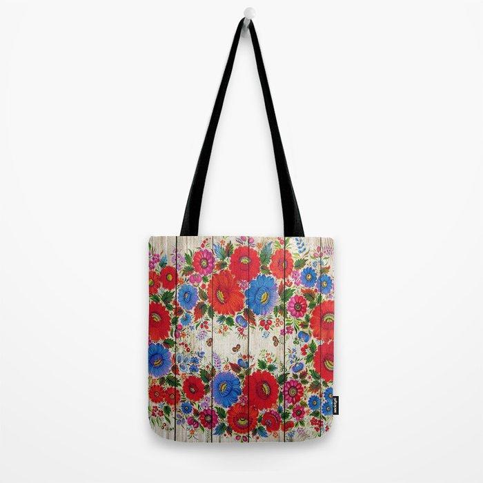 Russian Folk Art on Wood 04 Tote Bag