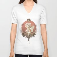 bianca green V-neck T-shirts featuring Bianca des Anges by Mar del Valle