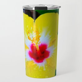 Rain Kissed Yellow Hibiscus Travel Mug