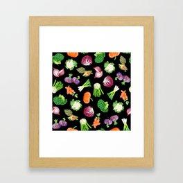 Black veggies pattern | Vegetables illustration pattern Framed Art Print
