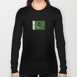 Old Vintage Acoustic Guitar with Pakistani Flag Long Sleeve T-shirt
