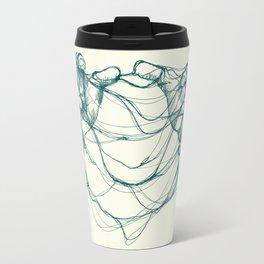 Hands tangled together in teal seagreen bluegreen green color Travel Mug