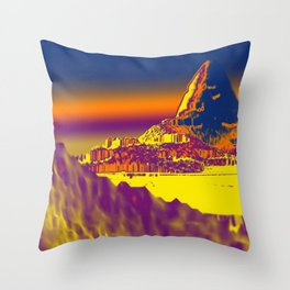 Mountain landscape colorful illustration painting Throw Pillow