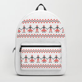 Traditional Hora people cross-stitch row white Backpack