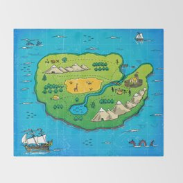 Old pirate's map Throw Blanket