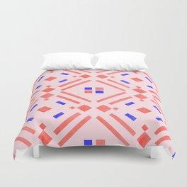 Modern geometrical blush pink coral blue watercolor Duvet Cover