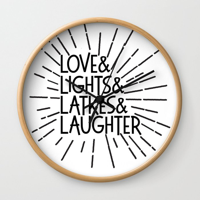 LOVE & LIGHTS & LATKES & LAUGHTER Hanukkah ampersand design Wall Clock