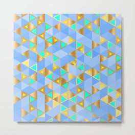 Contemporary Faux Gold and Blue Triangles Pattern Metal Print
