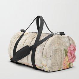 Vintage Rustic Romantic Roses Wooden Plank Duffle Bag