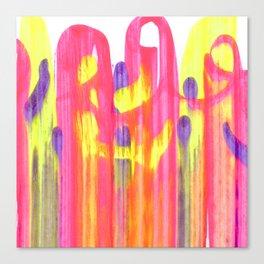 Neon Rainbow Swirls Abstract Canvas Print