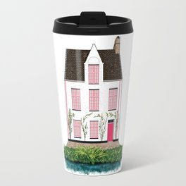 Pink and White House in Bruges Travel Mug