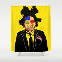 basquiat Shower Curtains featuring Jean Michelle Basquiat by CultureCloth