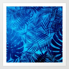 Turquoise Teal Palm Leaves Pattern Art Print