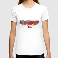 oslo T-shirts featuring Oslo skyline in watercolor by Paulrommer