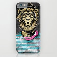 Hipster Lion on Black iPhone 6s Slim Case