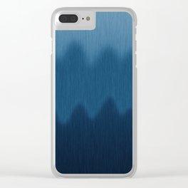 Wavy Digital Denim Blue Jean Pattern Clear iPhone Case