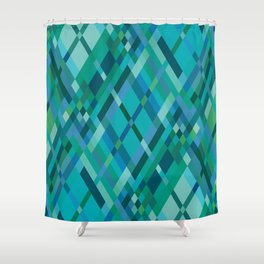 Blue Green Harlequin Pattern Shower Curtain