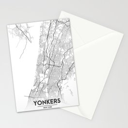 Minimal City Maps - Map Of Yonkers, New York, United States Stationery Cards