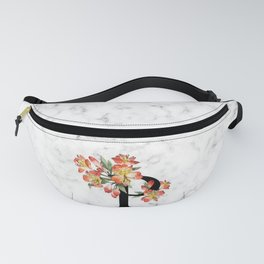 Letter 'P' Peruvian Lily Flower Monogram Typography Fanny Pack