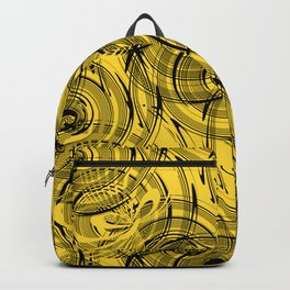 Yellow , black , abstraction , spiral Backpack