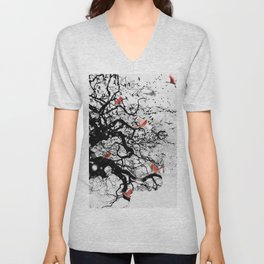 Red Birds in Snow by GEN Z Unisex V-Neck