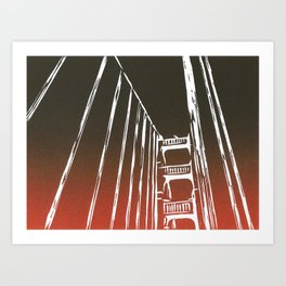Golden Gate Bridge - Woodcut Art Print