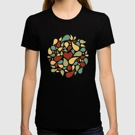 Heart surrounded by drops black pattern T-shirt