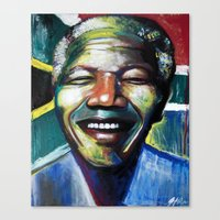 mandela Canvas Prints featuring MANDELA by John McGlynn