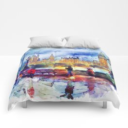 London Rain watercolor Comforters