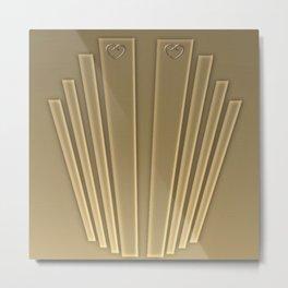 Art Deco Golden Matte Metal Print