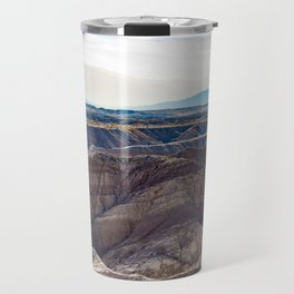 Looking across the Borrego Badlands Canyons towards the Hazy Mountainsin the Anza Borrego Desert Travel Mug