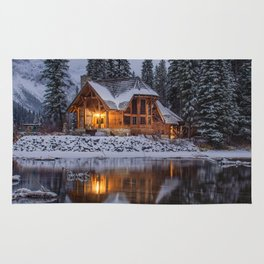 Cabin in Winter Woods (Color) Rug