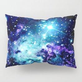Fox Fur Nebula Turquoise Blue Purple Black Pillow Sham