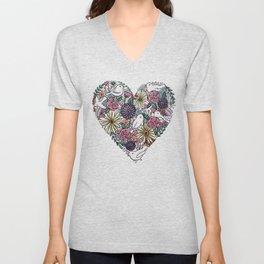 Flowers, Birds & A Heart Unisex V-Neck