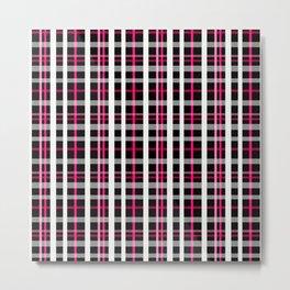 Black red white checkered pattern . Metal Print
