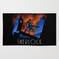 cartoon Area & Throw Rugs featuring Sherlock Cartoon by harebrained