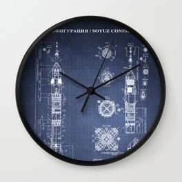 Soyuz Blueprint in High Resolution (dark blue) Wall Clock
