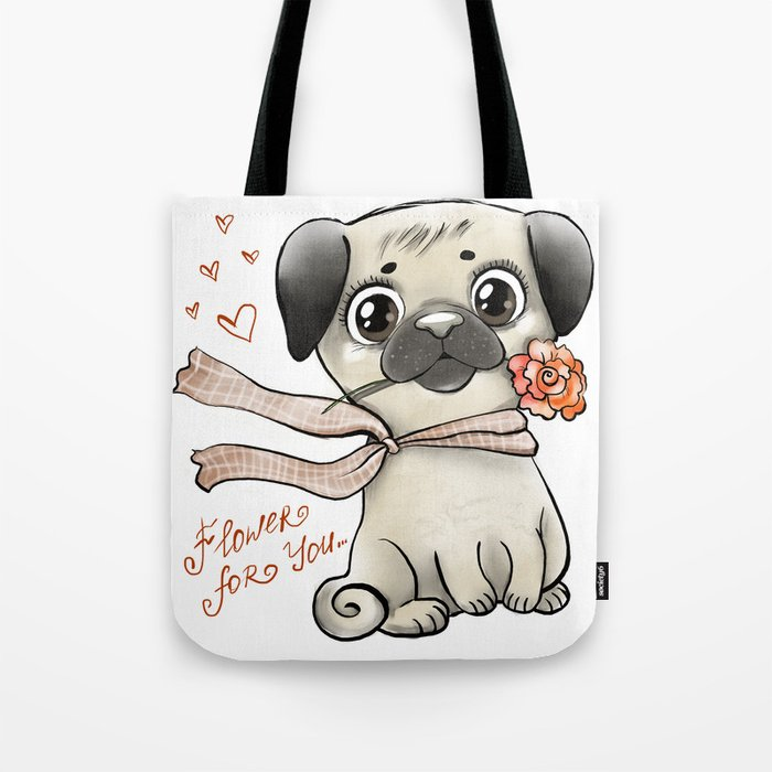 Pug with rose Tote Bag
