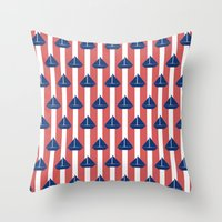 sailboat Throw Pillows featuring SAILBOAT by ovisum